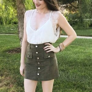 DISCOUNTED Fiona Faux Suede Skirt- Olive